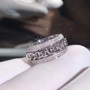 Image 5 - Bague en zircone CZ, blanche claire et rotative pour mariage, superbe, bijou de luxe nouveauté en argent Sterling 925, pour femmes, superbe