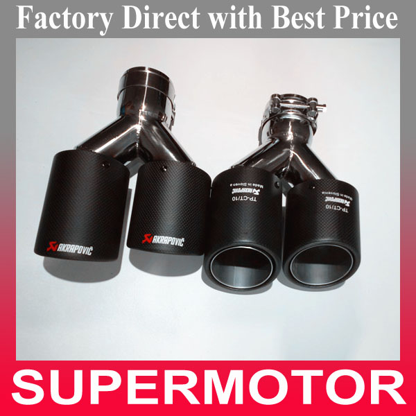 Universal One pair Y style carbon dual exhaust tips AK Carbon mufflers for any car Double