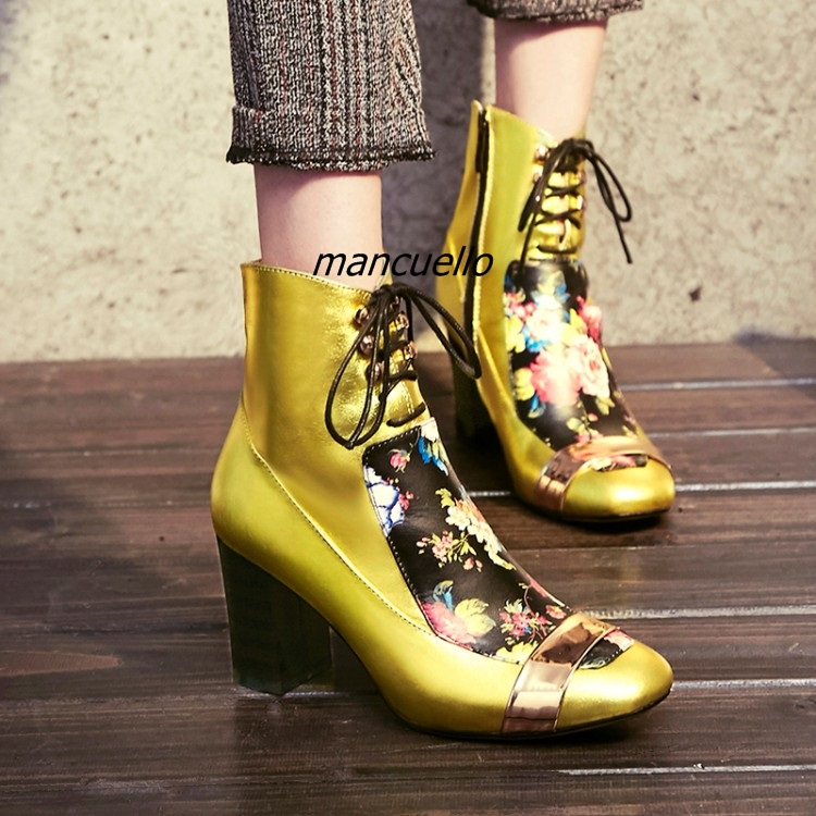 Unique Design Flowers Print PU Leather Heels Trendy Square Toe Block Heel Lace Up Ankle Boots Fashion Chunky Heel Boots New