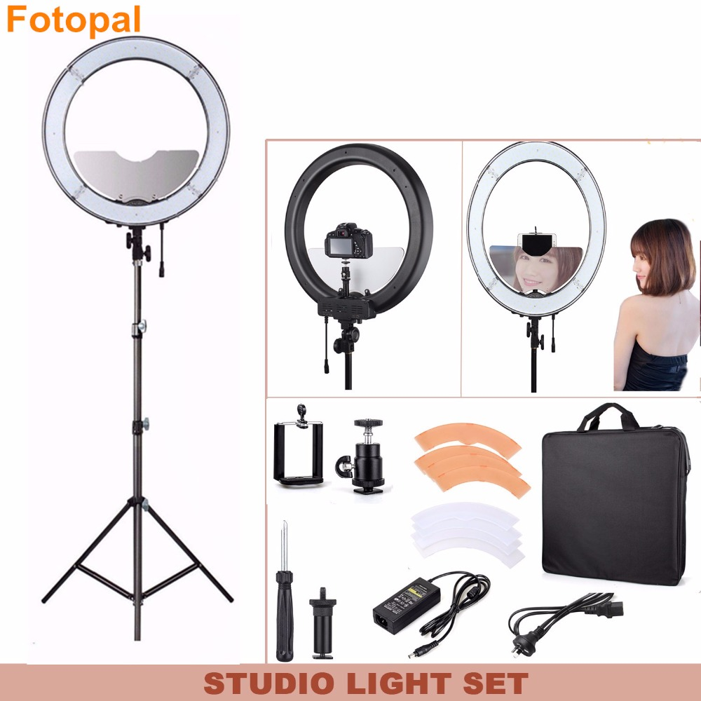Fotopal Dimmable 240 LED Photographic Lighting Annular Lamp Camera Photo Studio Phone Video Ring Light Tripod Mirror For makeup vacuum pump inlet filters f007 7 rc3 out diameter of 340mm high is 360mm