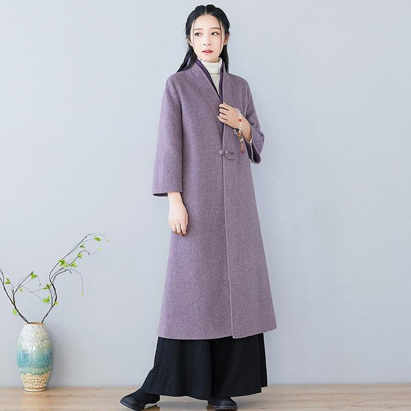 Croix Améliorée face Manteau Hiver Vêtements Chinois Pourpre Thé Femelle Vent Zen Littéraire Col Nouvelle Double IIPxgB8