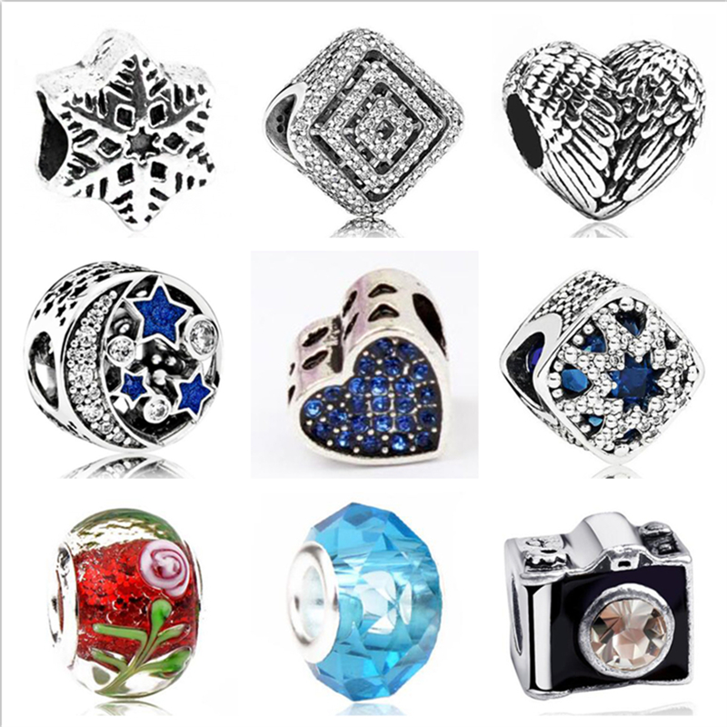 Crystal Beads Jewelry Necklaces Bracelets Charm Star Diy-Making Carved Heart Love Original Pandora