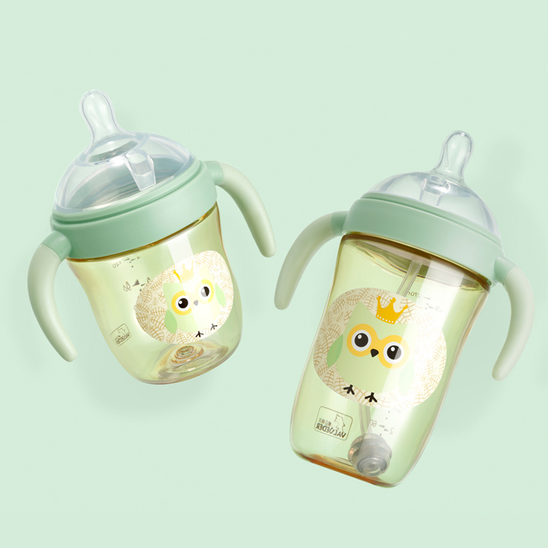 VALUEDER 2PCS Cute Baby Bottles Set 2018 New Arrival Heat resistant PPSU Baby Milk Bottle with Straw and Handle for Infants