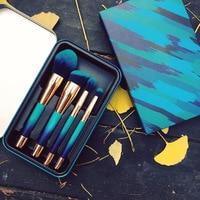 4pcs Makeup Brushes Set Synthetic Hair Portable Foundation Powder Make Up Brush Short Handle Cosmetic Brush