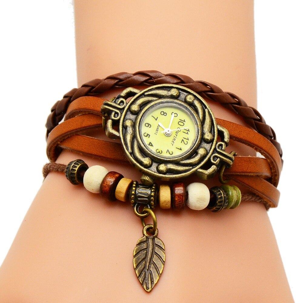 Brazalete Bohemio Con Reloj De Cuero Para Mujer