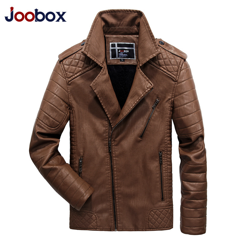 JOOBOX Brand 2017 New Fashion Motorcycle Leather Jackets Men Autumn Winter PU Clothing Male Casual Coat Plus Size 3XL 4XL 5XL caranfier 2016 winter jacket men fashion design brand parka men clothing zipper coat male with pockets plus size m 3xl