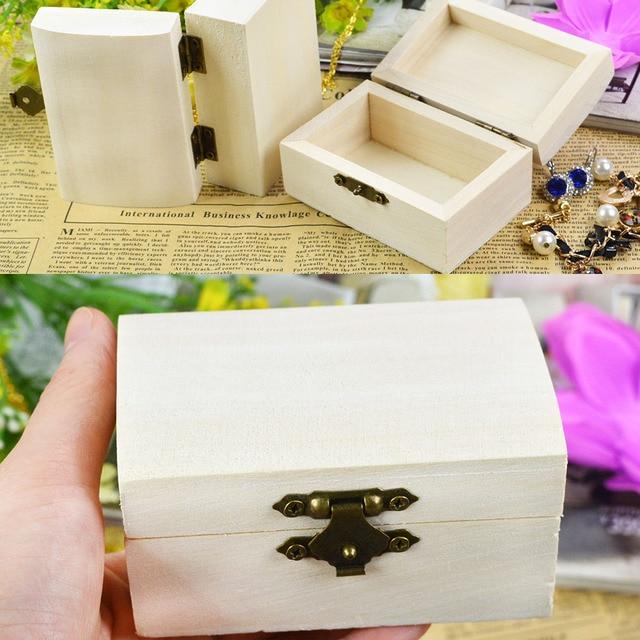 Wooden Crafts Wood Jewelry Box rectangle Shape DIY Mud Base Art