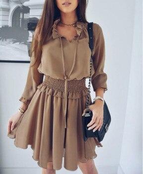 Violet Khaki Brown Long Lantern Sleeve Ruffle Mini Chiffon Dress