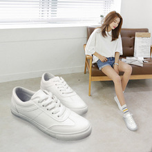 Fall new PU solid color casual wild college shoes white shoes shoes b2