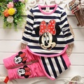 2016 Spring Children Cotton Clothing Set Cute Girl Kids Minnie Mouse Baby Girls Stripe Long SleeveTop + Culottes Age 0-2 year