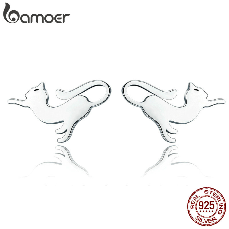 BAMOER Genuine 100% 925 Sterling Silver Cute Cat Pussy Tail Small Stud Earrings For Women Sterling Silver Jewelry SCE366