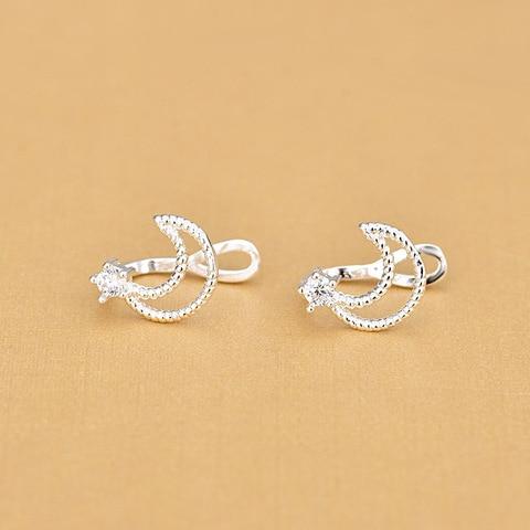 Женские маленькие серьги клипсы с Луной из стерлингового серебра