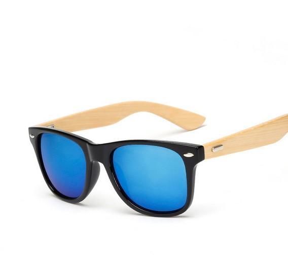 M14 Retro De Madera De Bambú Gafas De Sol Hombres Mujeres Marca Diseñador Gafas de Oro Espejo Gafas de Sol Sombras lunette oculo