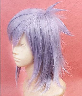 FREE SHIP408 Devil Survivor 2 Hotsuin Yamato Short Gray Purple Cosplay Wig