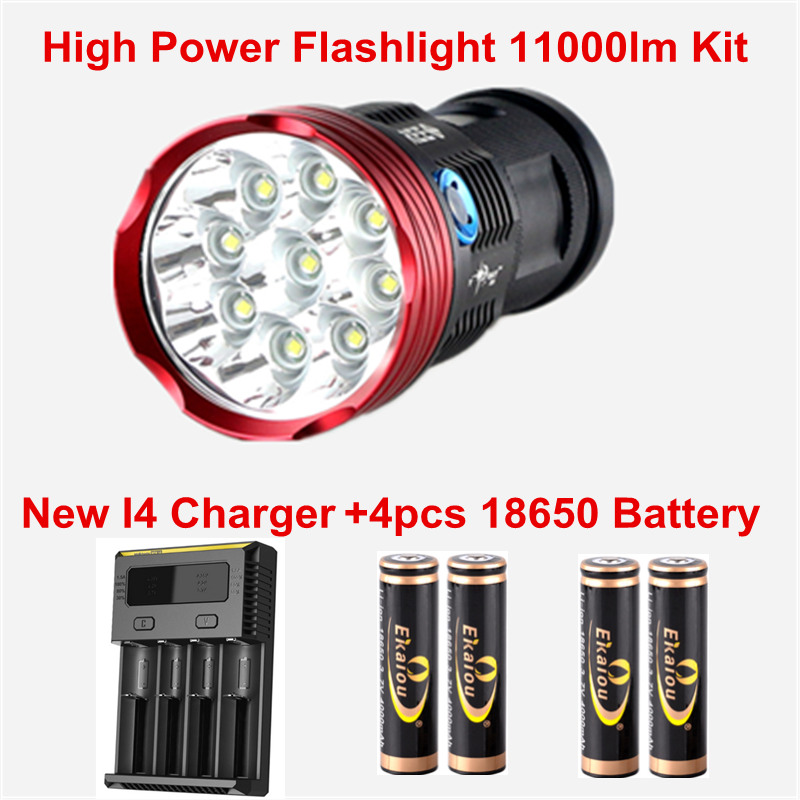 11000 Lumens 9x CREE XM-L T6 LED Flashlight Tactical Torch+New I4 Charger+4pcs 18650 Battery cree xm l t6 bicycle light 6000lumens bike light 7modes torch zoomable led flashlight 18650 battery charger bicycle clip