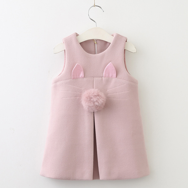 Girls Autumn Dress 2017 Hot Sale Children Solid-Colo Sleeveless Casual Princess Dress Design For 3-7Y Baby Girls Clothing Dress