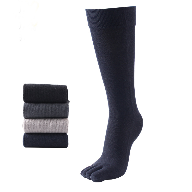 1 Pair Casual Solid Color Five Finger Socks for Mens Cotton Breathable Toe Socks Breathable Winter Autumn Long Tube Sock
