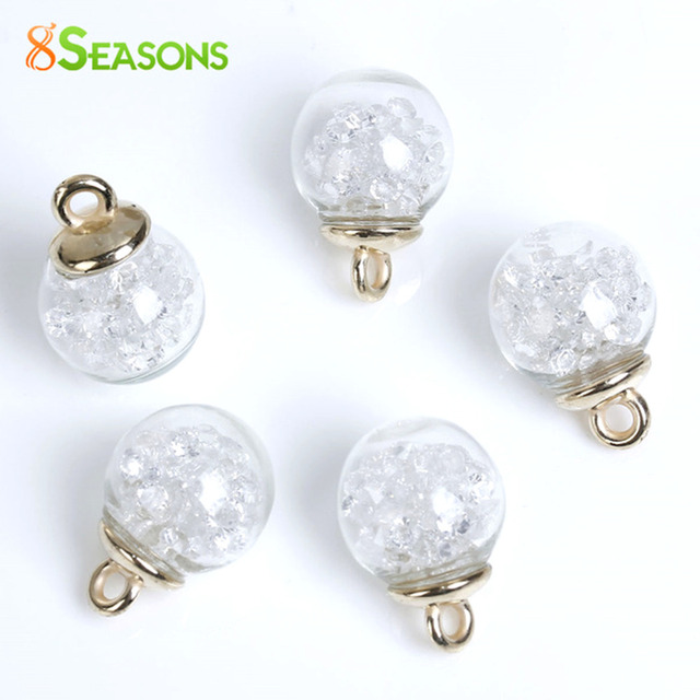 "8SEASONS Glass Globe Bottle Charms Clear Rhinestone 22mm x16mm( 7/8"" x 5/8"") - 2"