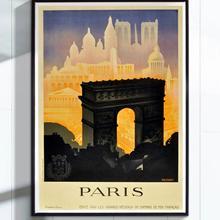 6 opciones Vintage Retro Francia París Arco del Triunfo viaje Póster Artístico de lienzo pegatinas de pared clásicas decoración del hogar regalo