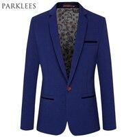 Brand Royal Blue Blazer Men 2015 Fashion Single Button Design Mens Slim Fit Blazer Suit Jacket