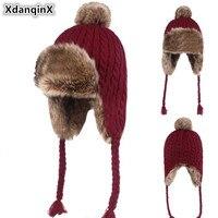 XdanqinX New Winter Women's Hat Velvet Thick Warm Beanies Hats Windproof Earmuffs Caps For Women Novelty Ski Cap Girl's Beanie