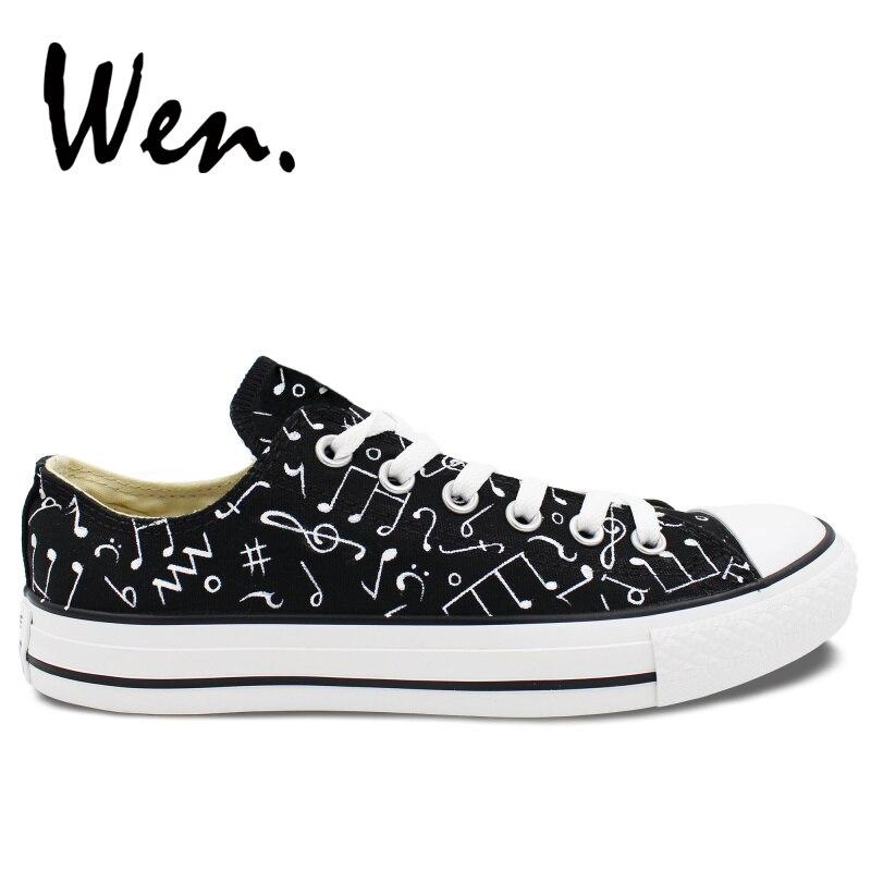 Ayakk.'ten Erkek Vulkanize Ayakkabı'de Wen Orijinal El Boyalı rahat ayakkabılar Tasarım Müzik Notlar Özel Düşük Üst kanvas sneaker Adam için Kadın Platformu Düz Plimsolls'da  Grup 1