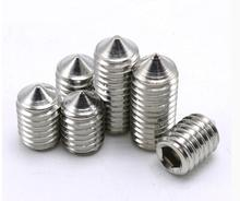 50Pcs M3 M4 M5 304 Stainless Steel Grub Screws Cone Point Hexagon Hex Socket Set Screws