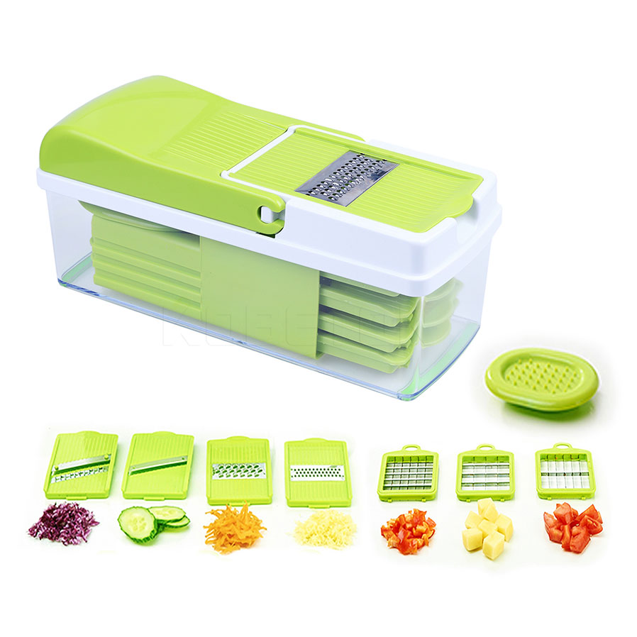 Vegetable Slicer Dicer WEINAS Food Chopper Cuber Cutter, Cheese Grater Multi Blades for Onion Potato Tomato Fruit Extra Peeler I multi functional portable slicer peeler shredder white