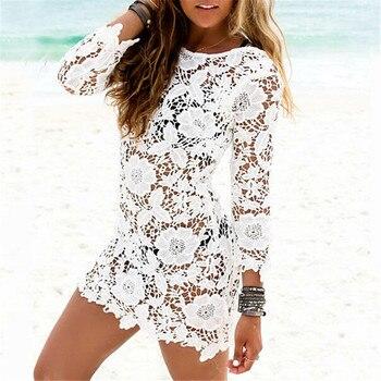 Women Lace Cover Ups Swimwear 2017 Summer Sexy Bikini Pareo Beach Cover Ups Beachwear Women Dress Cotton Bathing Suit Cover Ups 1