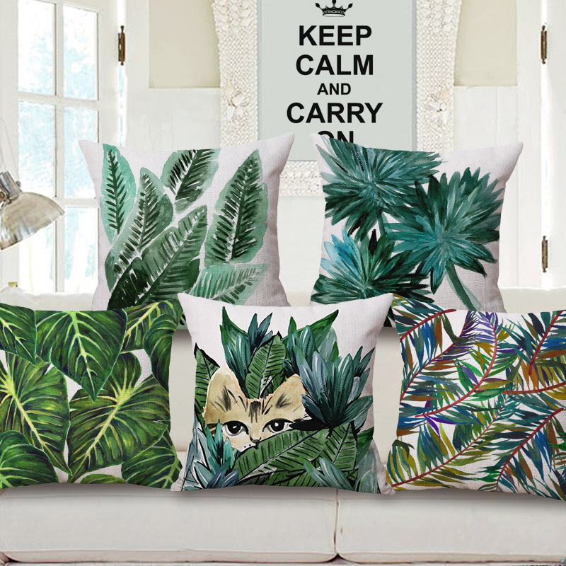 how to cover a sofa cushion gray sectional hawaiian garden tropical banana leaves palm leaf print car ...