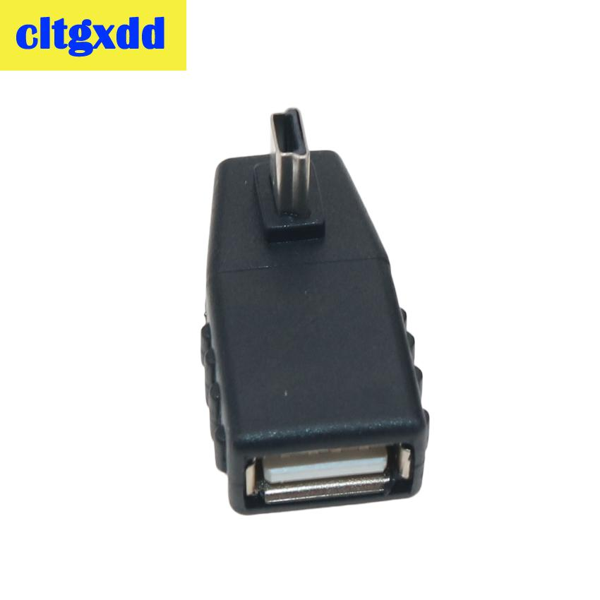 mini black cltgxdd USB Female to Mini V3 USB Male 90 Degree Down right Angle Left Angle UP OTG Adapter for Car AUX Tablet Black Connector (5)