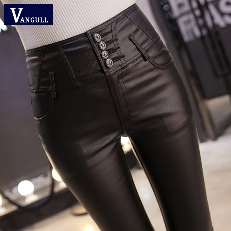 VANGULL Winter Warm Women Pants Dropshipping Female PU Leather Velvet Trousers Elastic Pencil Skinny Pants Women's Tight Pants