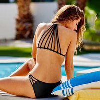 2018 New Bikini Women Backless Push Up Padded Thong Bikini Low Waisted Solid String Halter Brazilian