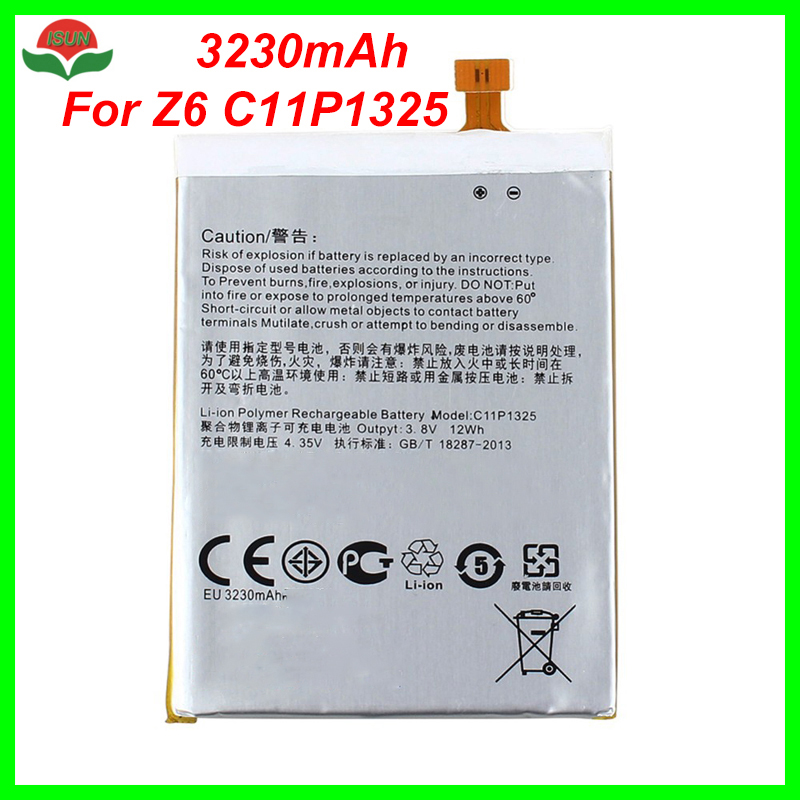 ISUNOO Original Quality C11P1325 Battery For <font><b>ASUS</b></font> ZenFone 6 /Z6 A600CG /A601CG /<font><b>T00G</b></font> Cell Phone Battery Replacement 3230mAh image