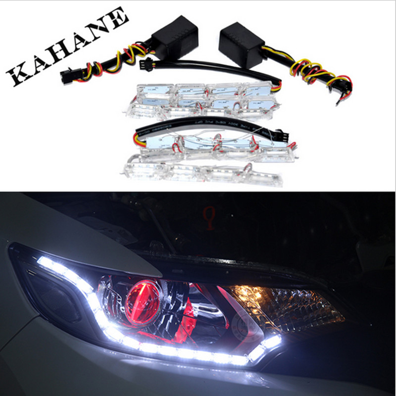 2PCS White Yellow Crystal 12 Groups LED DRL Strips Flexible Car LED DRL Stripes LED Daytime Running Light with Turn Signal Light