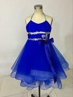 Crystal Beading High Low Little Flower Girl Dress For Weddings Baby Party Frocks Children Dress Kids