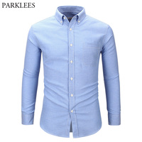 Men S Oxford Dress Shirt Slim Fit Long Sleeve Casual Button Down Shirts 2018 Spring New