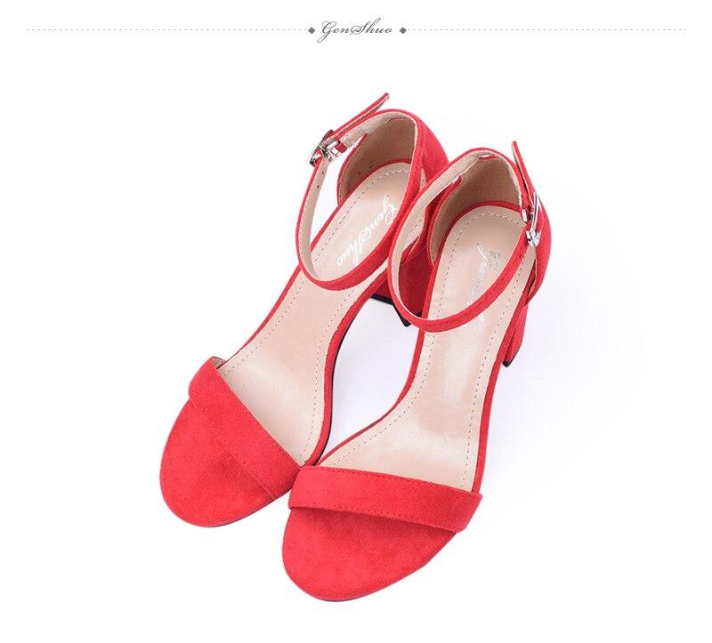 HTB1CGP5kcnI8KJjSspeq6AwIpXaf GENSHUO 2019 Ankle Strap Heels Women Sandals Summer Shoes Women Open Toe Chunky High Heels Party Dress Sandals Big Size 42