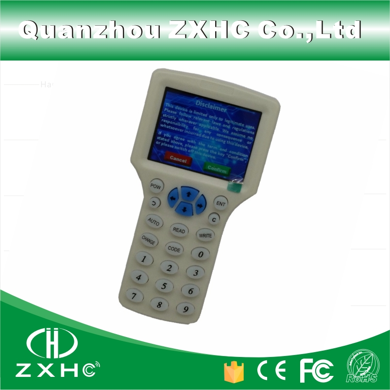 Английски език RFID Reader Writer Copier Duplicator 125Khz 13.56Mhz 10 честота с USB кабел за IC / ID карти LCD екран