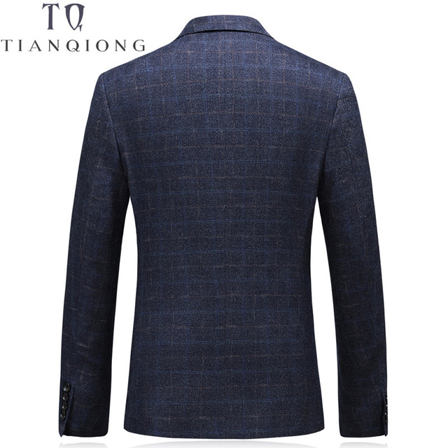 TIAN QIONG  Men Blazer Suit Slim Fit Wool Jacket Casual Dark Blue Masculine Blazers Coat Single Breasted Two Bottons Men