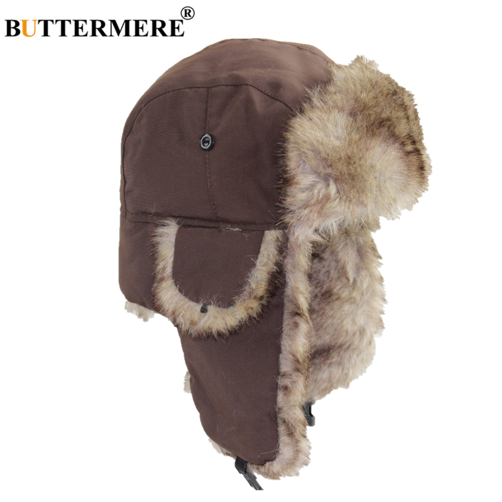 BUTTERMERE Winter Russian Hat For Men Women Fur Bomber Hat Earflap Trapper Thick Warm Male Female Coffee Red Navy Black Snow Cap