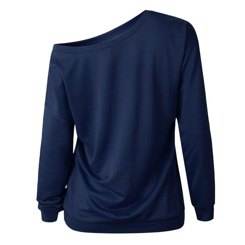 19 New Autumn Long Sleeve Women Casual Sweatshirts Off Shoulder Black Gray Tops Sweatshirts Streetwear Female Loose Sweatshirt 16