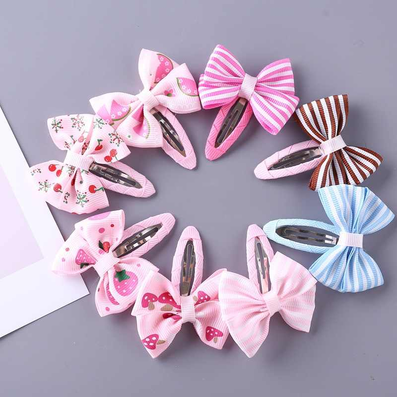 idecherry 8 Pcs Baby Hair Clips Striped Bowknot Children Hairgrips Headwear Fashion Baby Hair Accessories Girls Hairpins