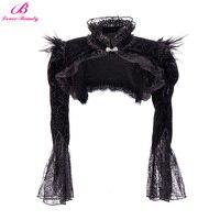 Lover Beauty Women Victorian Ruffles Steampunk Flannel Bolero Outerwear Gothic Lace Corset Women Jacket Gothic Long Sleeve Black