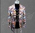 2016 Новый прямо Чжи-длинный кожаный пиджак средней длины печати пальто мужчины и женщины ночной клуб певица сценические костюмы одежда