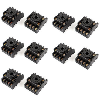 10pcs PF113A 11-Pin 11P DIN Rail Mount Relay Socket Base for JTX-3C 3 pcs din rail mounting plastic relay socket base holder for 8 pin relay pyf08a