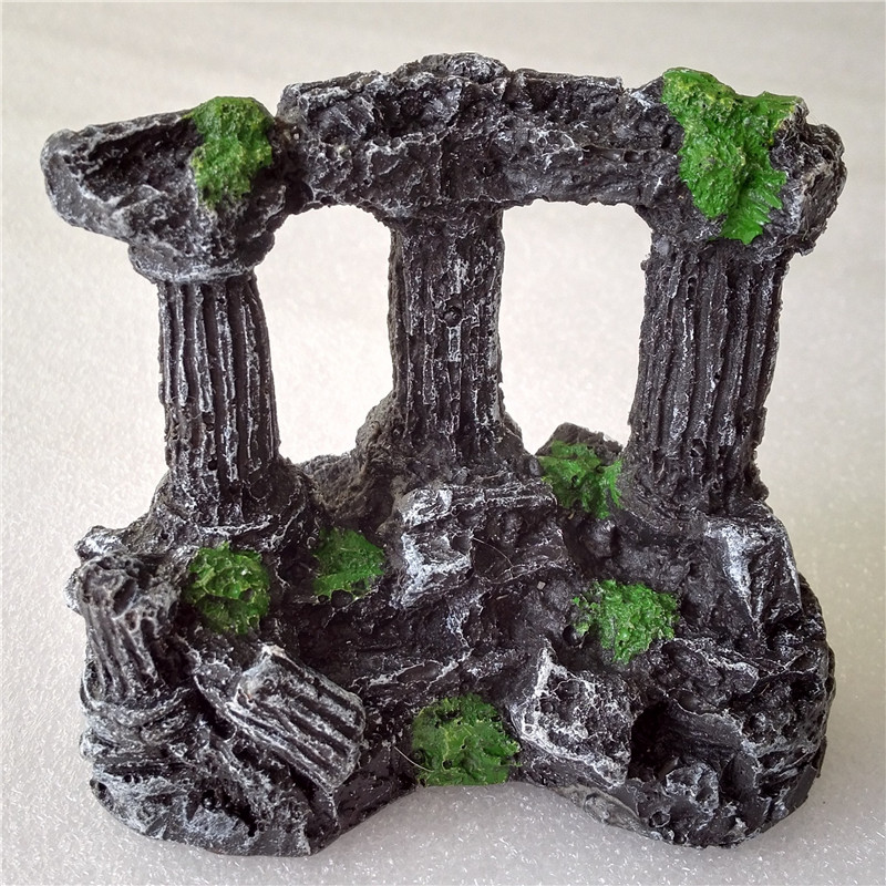 Aquarium Fish Tank Square Rom Stone Pillars Resin Manuell Stone Decoration Retro Landskapsarkitektur För Aquarium Fish Tank 1pcs