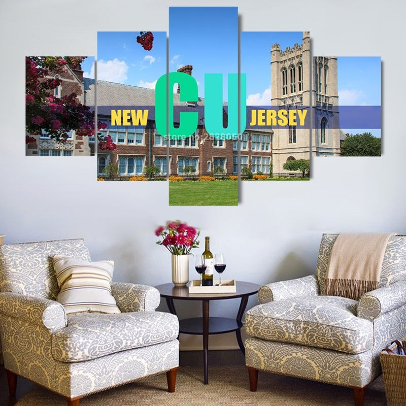 5 Piece Canvas Art Set Oil Painting Landscape Mordern City New CU Jersey Wall