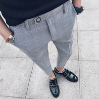 Summer New Dress Pants Men Formal Plaid Suit Pants Man Slim Fit Fashion Social Business Casual British Style Trousers Male