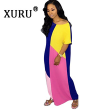 XURU new hot womens loose contrast color dress fashion casual sexy print stitching long